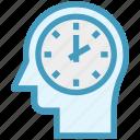 clock, head, human head, mind, thinking, watch icon