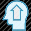 arrow, head, human head, mind, thinking, up