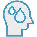 head, human head, mind, thinking, water, water drops icon