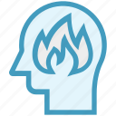 fire, flame, head, human head, mind, thinking icon