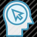arrow, click, head, human head, mind, thinking icon