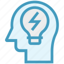 bulb, energy, head, human head, mind, thinking