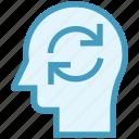 head, human head, loading, mind, sync, thinking icon