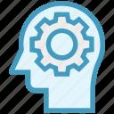 cogwheel, head, human head, mind, setting, thinking icon