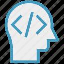 code, head, html, human head, mind, thinking icon