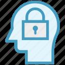 head, human head, locked, mind, security, thinking