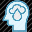 cloud, drop, head, human head, mind, thinking