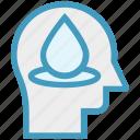 drop, head, human head, mind, thinking, water icon