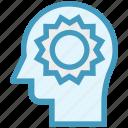 head, human head, light, mind, sun, thinking icon