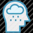 cloud, head, human head, mind, rain, thinking icon