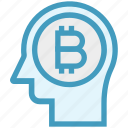bitcoin, head, human head, mind, money, thinking icon