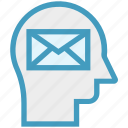 envelope, head, human head, letter, mind, thinking icon