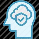 cloud, head, human head, mind, shield access, thinking