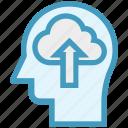 cloud, head, human head, mind, thinking, up arrow