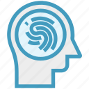 head, human head, mind, thinking, thumb scan, verification