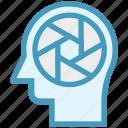 aperture, camera, head, human head, mind, thinking icon