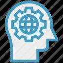 gear, head, human head, mind, thinking, world icon