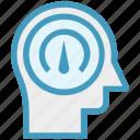 dashboard, head, human head, mind, speedometer, thinking icon