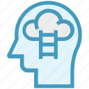 cloud, head, human head, mind, stairs, thinking icon