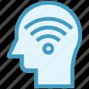 head, human head, mind, signals, thinking, wifi icon
