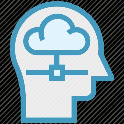 cloud, head, human head, mind, sharing, thinking icon
