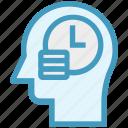 clock, coins, head, human head, mind, thinking