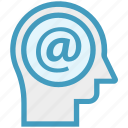 at sign, email, head, human head, mind, thinking icon