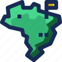 brazil, country, flag, location, map, nation, pin icon