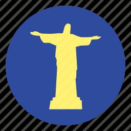 christ, monument, redeemer, statue icon