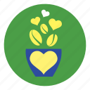 cup, flower, flowerpot, heart, plant icon