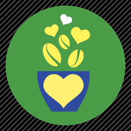 cup, flower, flowerpot, heart, plant icon