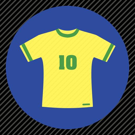 brazil, football clothes, shirt, tshirt icon