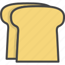bread, breakfast, filled, food, outline, toast icon