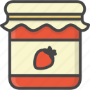 breakfast, filled, food, jar, outline, strawberry icon