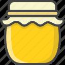 breakfast, filled, food, honey, jar, outline