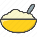 bowl, breakfast, filled, food, oatmeal, outline icon