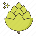 brewery, fruit, hop icon