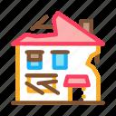 abandoned, broken, crashed, damaged, demolition, house, ruined icon