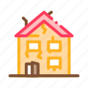 abandoned, broken, collapse, crashed, demolition, house, old icon