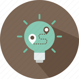 bulb, idea, illumination, light, location, map, plan icon