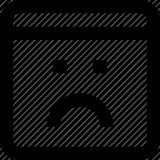 browser, interface, sad, status, web icon