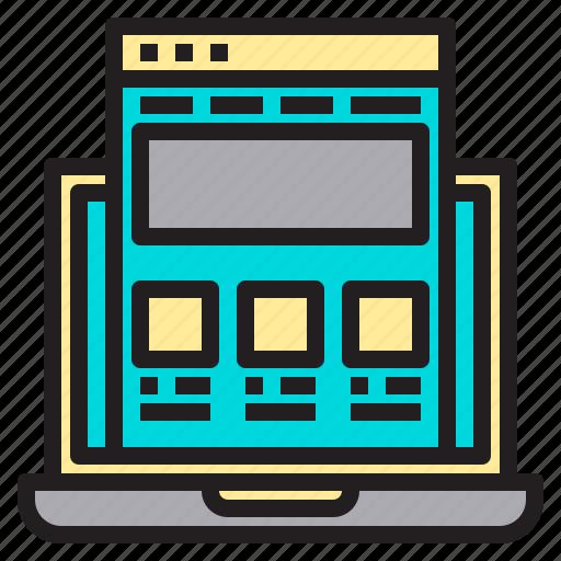internet, laptop, web, website icon