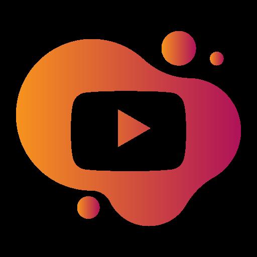 aquarelle, bubble, gradient, liquid, pink, watercolour, yellow, youtube icon