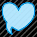 bubble, heart, love, speech, talk icon