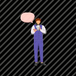 speech bubble, man, waiter, suit, restaurant