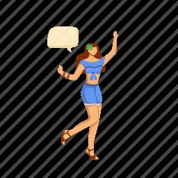 speech bubble, girl, dance, jump, skirt