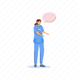 speech bubble, doctor, nurse, covid, protection