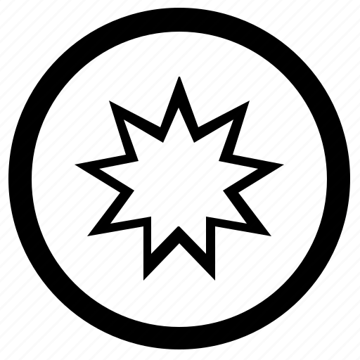 bahai, religion, round, sign icon
