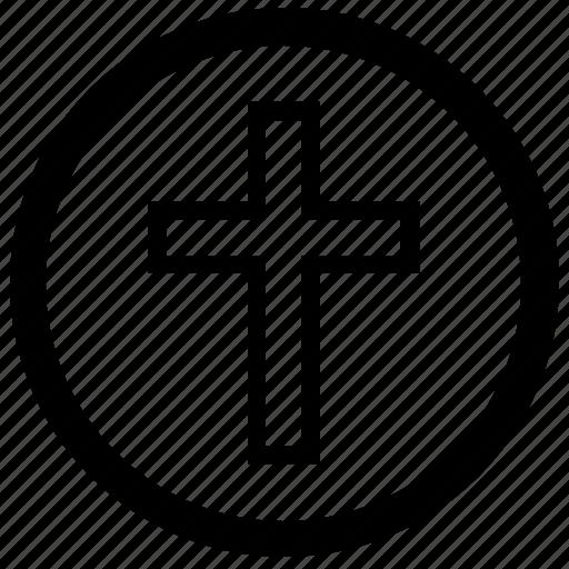 christian, cross, faith, religion, round icon