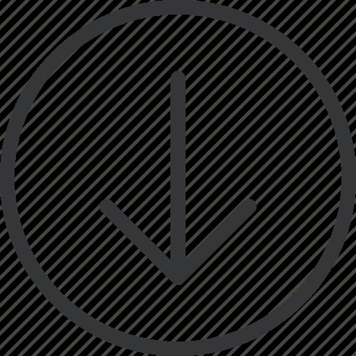 arrow, bottom, circle, direction icon